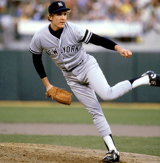 Oct 8, 1981 - ALDS Game 2  Line: 6.0 IP, 4 H, 0 ER, 2 BB, 10 K  In his first full season with the Yankees, Dave Righetti threw like a seasoned veteran. He led the league with a 2.05 ERA and bolstered a rotation featuring the likes of Tommy John.  Manager Gene Michael called Righetti's number in a crucial Game 2 and Righetti responded by throwing six shutout innings along with a dominant 10 K's. The Yankees would go on to lose in the World Series, but Righetti pitched brilliantly all postseason.