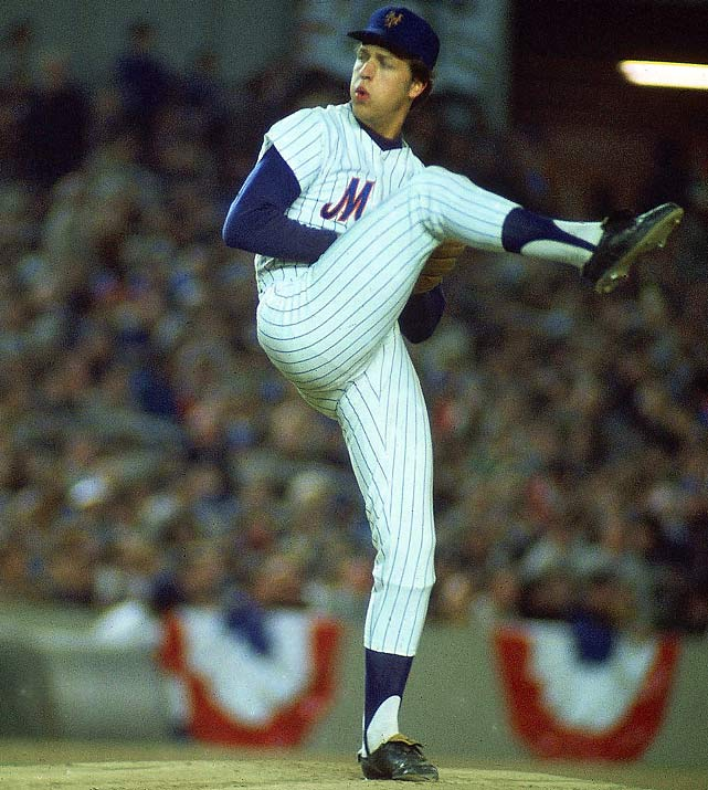 Oct 7, 1973 - NLCS Game 2  Line: 9.0, 2 H, 0 ER, 3 BB, 9 K  Plagued by a poor Mets offense throughout his career, Jon Matlack finished the 1973 season with 3.20 ERA but a 14-16 record.  In his postseason debut, Matlack made offense a non-issue with nine shutout innings against the Cincinnati Reds.  Even on a staff featuring Tom Seaver, Matlack started the first, second and seventh game of the World Series in what would be the only postseason trip of his career.