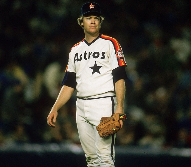 Oct 8, 1986 - NLCS Game 1   Line: 9.0 IP, 5 H, 0 ER, 1 BB, 14 K  Mike Scott was the best pitcher in the NL in 1986. He won 18 games, struck out a league-high 306 batters and sported a 2.22 ERA.  On Sept. 25, Scott pitched a no-hitter to send the Astros to the playoffs, where they would face the New York Mets.  The Mets were terrified of Scott and shifted blame away from their ineptitude by claiming Scott doctored balls. Altered balls or not, Scott mowed down the Mets in his postseason debut, recording an NLCS-record 14 K's.  Despite Houston falling to the Mets in seven games, Scott was named the NLCS MVP.