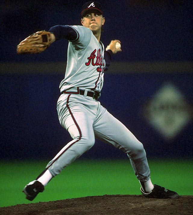 Oct 10, 1991 - NLCS Game 2  Line: 8.1 IP, 6 H, 0 ER, 2 BB, 9 K  After a mediocre 1990 season, Steve Avery and the Braves turned a corner in 1991.  The Braves went from worst to first and Avery established himself as one of the better young starters in the NL.  In his postseason debut, he threw 8.1 shutout innings to lead the Braves to a 1-0 victory.  It would be the start of something great for the Braves, who would go on to make the playoffs for 11 consecutive seasons.
