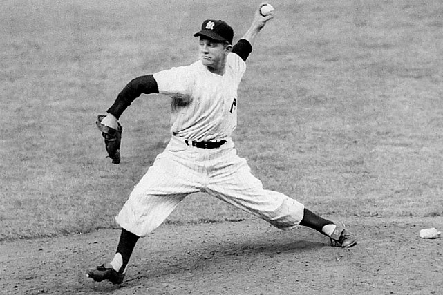 Oct 7, 1950 - WS Game 4  Line: 8.2 IP, 7 H, 0 ER; 1 BB, 7 K  It's crazy to think of Whitey Ford as the fourth-best starter in any rotation, but such was the case during the 1950 World Series.  Many doubted whether Ford would even get a chance to pitch, but manager Casey Stengel called Ford's number for Game 4, and Ford didn't let his manager down.  The cocky rookie was one out away from a shutout when leftfielder Gene Woodling dropped a fly ball, which let a runner score.  Luckily for Ford, it wouldn't be his last chance to pitch at the World Series.