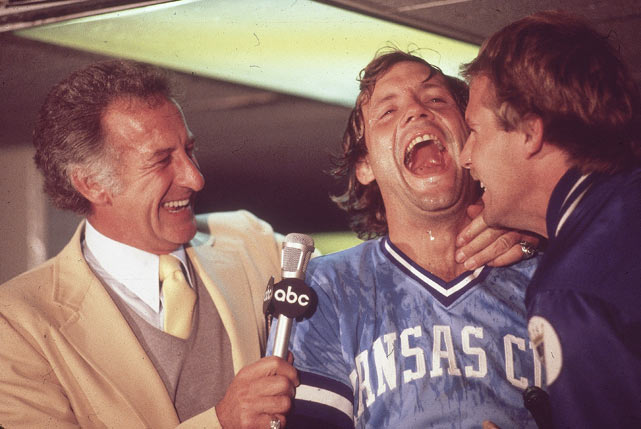 Broadcaster Bob Uecker interviews an ecstatic George Brett after completing their three-game sweep of the New York Yankees in the 1980 ALCS.  It was a long time coming for Brett and the Royals, who'd been knocked out of the playoffs by New York for three consecutive years from 1976-78.