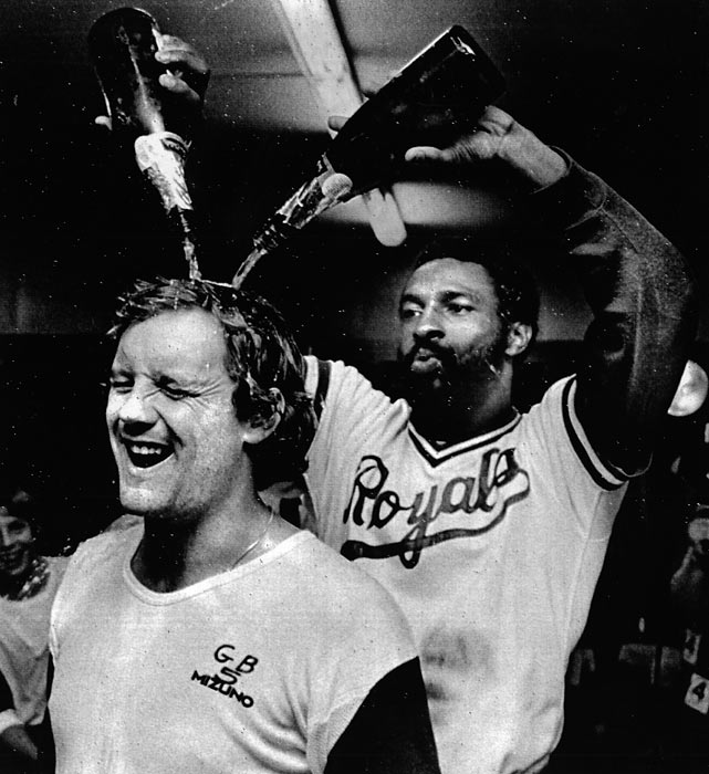 As the MLB postseason roll on, SI goes back in time to 1980 with this gallery of rare photos.   Royals' outfielder Willie Wilson dumps champagne on teammate George Brett's head after clinching the AL West against California.  Wilson, Brett and their Royal teammates had more celebrating in store for them as they would sweep the Yankees in the ALCS to advance to their first World Series in franchise history.