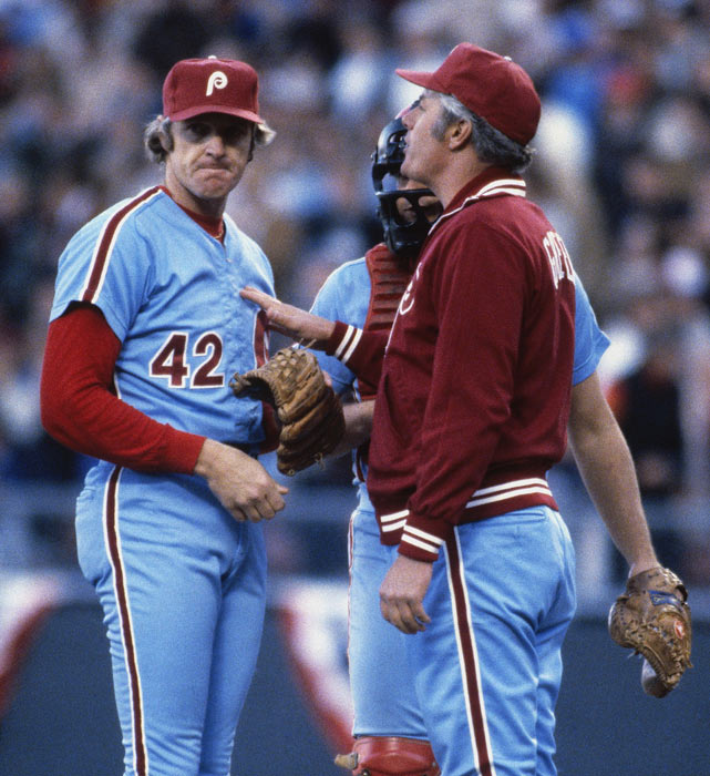 Philadelphia pitcher Ron Reed talks to his manager, Dallas Green, on the mound during Game 2 of the World Series. Reed would go on to earn the save in the Phillies' 6-4 victory.