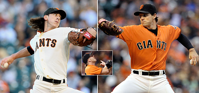 """Driven by their tremendous pitching all season -- they posted an MLB low 3.36 team ERA -- the Giants best back-to-back performances came on July 15 and 16 against the New York Mets.  Tim Lincecum, Barry Zito and Brian Wilson (inset) combined for 18 scoreless innings, leading the team to consecutive 2-0 and 1-0 victories.  The games can be seen as a microcosm of San Francisco's entire season, as they became known for winning, close low-scoring contests that were dubbed """"torture"""" by team broadcaster Duane Kuiper."""