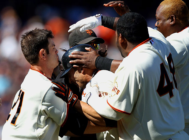 After racing to a 7-3 lead behind a pair of homers from Pat Burrell, the Giants seemed primed to coast to an easy win over the Cubs on Aug. 12.  That's before the bullpen surrendered four runs in the seventh and eighth, allowing Chicago to tie the game entering the ninth.  San Francisco prevailed behind Andres Torres, who hit a pinch-hit, walk-off, RBI single over center fielder Marlon Byrd for an 8-7 win.  Torres was a revelation this season, hitting .268 with 26 stolen bases as the sparkplug atop the Giants' lineup.