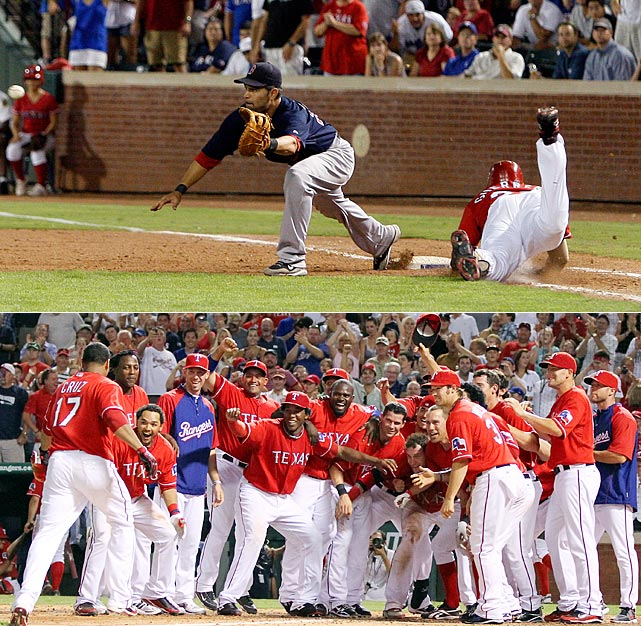 In a slugfest where the Red Sox posted seven runs in the top of the fourth inning, a Vladimir Guerrero infield single proved to be momentum-changing hit that propelled Texas to an eventual 10-9 win.  Josh Hamilton was on second base with two outs when Vlad slapped a slow roller up the middle, which was fielded by Jed Lowrie and promptly tossed over to first.  Vlad was barreling down the first base line and plunged head first into the bag, barely beating the throw to keep the rally alive.  Hamilton sprinted around third and just escaped catcher Victor Martinez's tag to tie the game at nine. Two innings later, Nelson Cruz won the game with a walk-off home run.  Both Hamilton and Guerrero came up big for the Rangers all year, with Hamilton garnering MVP and Guerrero earning an All-Star nod.
