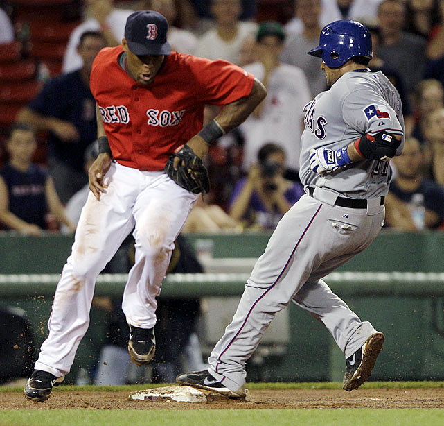 "Not known as a speedy runner by any means, Bengie Molina did the unthinkable in a July contest at Fenway Park when he completed his cycle with a leadoff triple in the top of the eighth.  He'd already racked up a single in the second, a double in the fourth and a grand slam in the fifth when he stepped to the plate against Red Sox pitcher Ramon Ramirez.  He drove a fly ball just over the head of center fielder Eric Patterson, and the ball careened off the wall allowing the beefy Molina to rumble to third.  Texas coasted to an 8-4 victory, and play was marked as one of the many ""Antler"" plays for the team during the course of the 2010 season."