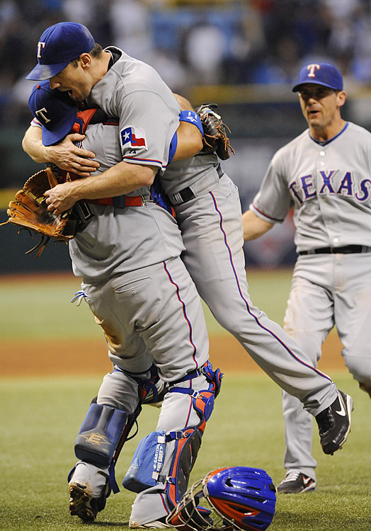 In their Division Series against the Tampa Bay Rays, the Rangers jumped out to a two-games-to-none lead by winning twice in Florida and seemed all but assured of winning their first playoff series in the franchise's disappointing history.  They quickly dropped the next two at home, though, setting the stage for a Cliff Lee-David Price rematch in Tampa Bay in Game 5.  Lee hurled another gem, allowing jut one earned run in nine brilliant innings in Texas' 5-1 triumph.  He fanned 13, giving him an ALDS record-tying 21 strikeouts for the series.