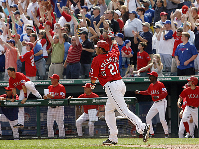 Down 3-0 to the Blue Jays early on Opening Day, the Rangers tied the score on a three-run homer in the seventh by Nelson Cruz.  Toronto took a 4-3 lead into the bottom of the ninth, but the Rangers rallied for two runs, with the game-winner coming courtesy of Jarrod Saltalamacchia, who singled home David Murphy with the bases loaded.
