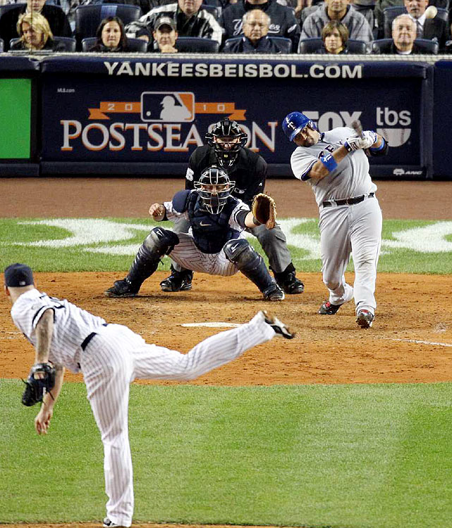 In what may be remembered as the pivotal moment of the 2010 ALCS, Bengie Molina trotted to the plate in the sixth inning of Game 4 against New York's A.J. Burnett after a controversial intentional walk to David Murphy.  Molina lined the first pitch he saw into the left field seats, silencing Yankee Stadium and giving the Rangers a 5-3 lead.  They added five more over the next three innings to cruise to a 10-3 victory and a 3-1 series lead. In Game 6, the Rangers won comfortably again to reach the World Series for the first time in franchise history.