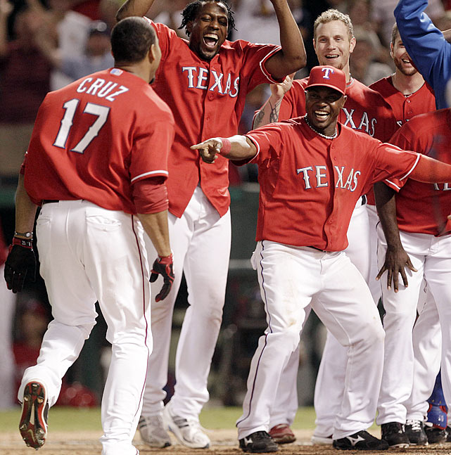 Lauded for their resiliency throughout the entire 2010 season, the Rangers most thrilling comeback win may have come on Sept. 10 against the defending world champion Yankees.  Trailing 5-4 in the bottom of the eighth, Nelson Cruz drilled a solo home run to send the game into extra innings.  In the 13th Cruz struck again, smoking Chad Gaudin's first pitch into the right-field bleachers to seal a 6-5 victory.  Cruz showed his teammates the claw, symbolizing a key hit, before jumping into a mob of Rangers at home plate.  It'd be a sign of things to come, as Cruz would hit three more homers during Texas' six-game romp of New York in the ALCS.