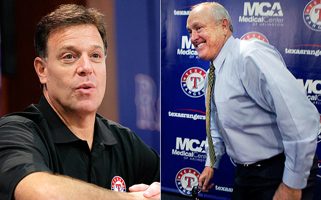 After a series of lengthy negotiations, the Rangers Baseball Express -- comprised of team president (and former pitching icon) Nolan Ryan and Chuck Greenberg -- seemed destined to lose their prolonged attempt to buy the Rangers after the tandem of Mavericks' owner Mark Cuban and Jim Crane entered the bidding for the franchise.  The auction for the team extended deep into the night, with the Ryan/Greenberg group coming out on top with a $385 million cash offer.