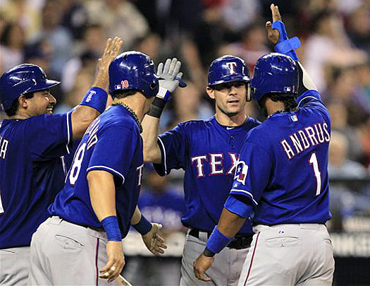 While Ryan was reversing the Rangers' fortunes off the field, third baseman Michael Young was helping to change their losing culture on it.  Clinging to a slim 7-6 lead over the Seattle Mariners in the top of the seventh, he smashed a towering grand slam to break the game open.  A model of consistency during his 10-year Texas career, Young made his first playoff appearance this October.