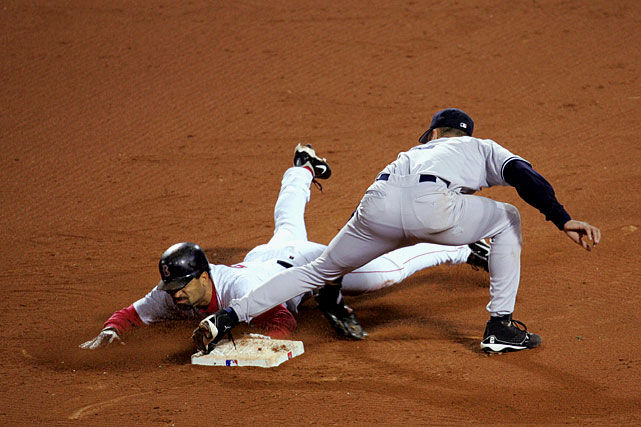 With Boston down to their final three outs in the 2004 ALCS, Kevin Millar drew a five-pitch walk from Yankees' closer Mariano Rivera to give the Red Sox the base runner they desperately needed.  That set the stage for Dave Roberts, Boston's seldom-utilized outfielder, to pinch run and swipe one of the most remarkable stolen bases in baseball history.  Roberts would go on to score, and Boston would rally from an 0-3 deficit to earn their first trip to the World Series since 1986.