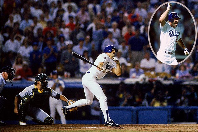 It's rare when the National League MVP hits one of the most improbable home runs in baseball history, but that's exactly what happened when Kirk Gibson stepped to bat in Game 1 of the 1988 World Series.  Hobbled by knee and hamstring injuries, Gibson was summoned to pinch hit against A's dominant reliever Dennis Eckersley in the bottom of the 9th, with one on, two out and the Dodgers down 4-3.  With a 3-2 count, Gibson connected, lofting a high fly ball that carried into the right field stands to give the Dodgers the unlikeliest of victories.  The A's never recovered, as Los Angeles rolled to a 4-1 series win.