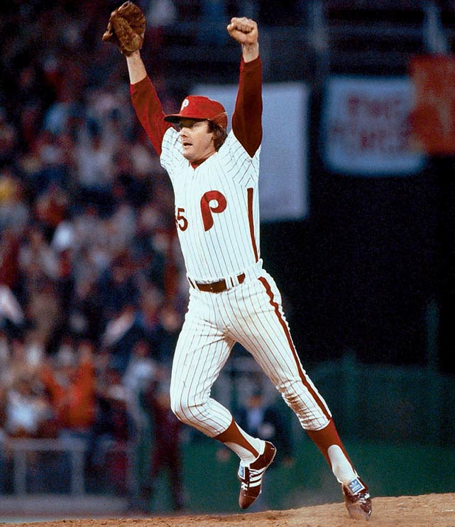 Though he kept Phillies fans on edge, closer Tug McGraw had a knack for coming through when it mattered most.  In Game 5 of the 1980 World Series, he loaded the bases in the bottom of the ninth with a slim 3-2 lead before uncorking a fastball past Jose Cardenal to earn the win.  Two days later, he overpowered Willie Wilson for the final out in Game 6 to finish off the Royals and give the city of Philadelphia its first baseball championship after 97 years of waiting.