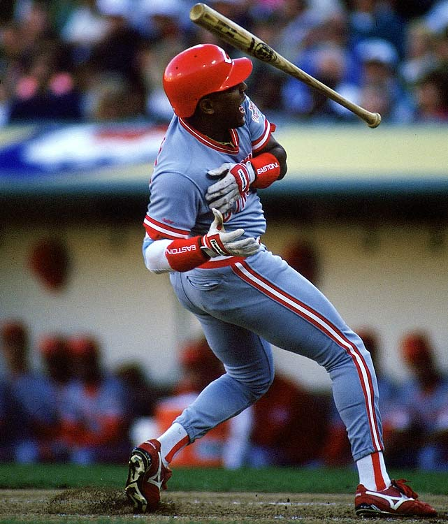 During the 1990 World Series, Oakland just couldn't get Billy Hatcher out.  The Reds' outfielder compiled seven consecutive hits, the last of which was a back-breaking triple off Jose Canseco's glove to tie Game 2 in the bottom of the eighth.  His timely hitting ignited Cincinnati's Game 3 rally as well, and the Reds went on to sweep the defending champion A's.  Hatcher finished the series with a staggering .750 average.