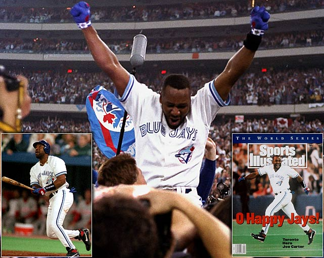 For only the second time in history, the World Series ended on a walk-off home run.  The Phillies were leading the Blue Jays 6-5 in the bottom of the ninth in Game 6, but Toronto's Rickey Henderson walked and Paul Molitor singled.  That brought up Joe Carter, who drilled a 2-2 pitch from Mitch Williams over the wall in left field, winning the Series for the Jays.  He leaped around the bases ecstatically, a moment that lives on as one of the greatest in baseball history.