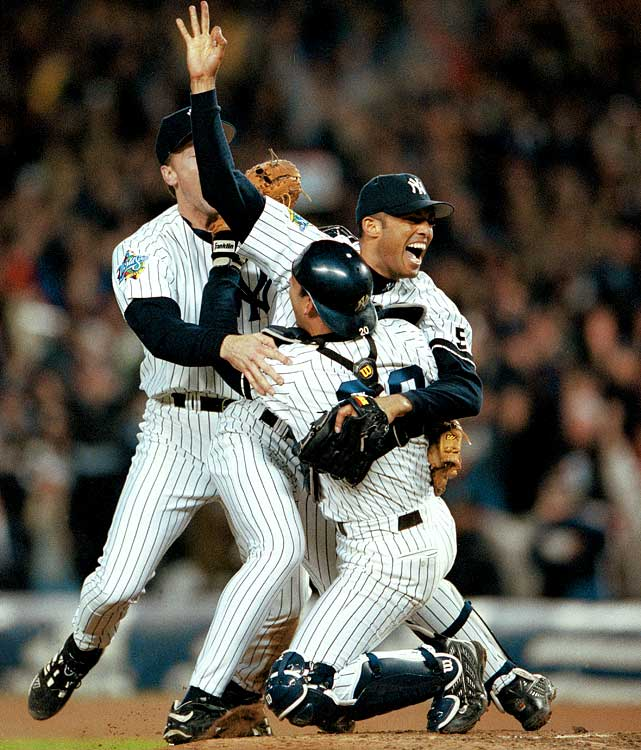 Widely regarded as the greatest reliever in postseason history, Mariano Rivera may have put on his finest performance during the 1999 World Series.  His cutter dominated the Braves' hitters, as he recorded a win and two saves during New York's sweep.  His ERA was perfect -- 0.00 -- and the closer won his first and only World Series MVP Award.