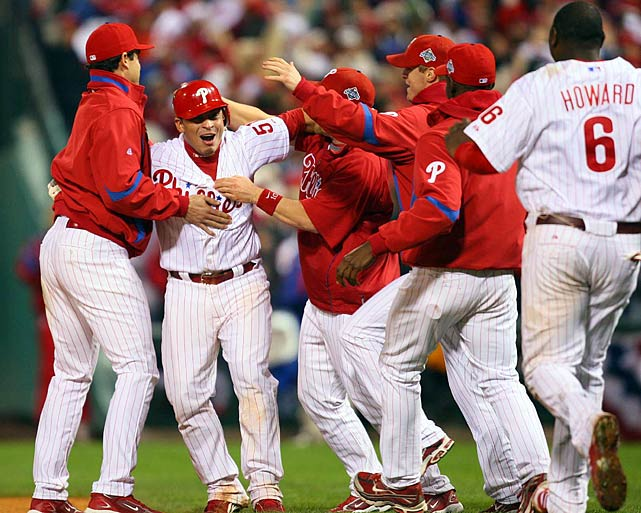 In a lineup featuring Chase Utley, Ryan Howard and Jayson Werth, Carlos Ruiz inflicted the most damage on the 2008 Tampa Bay Rays.  He whacked a solo homer to give the Phillies a 2-1 lead in the second inning of Game 3, but would provide his biggest hit on a 45-foot infield dribbler in the bottom of the ninth.  That sent home Eric Bruntlett as Philadelphia nabbed a 2-1 series lead.  They'd never look back, dusting off the Rays in the final two contests to claim their first championship since 1980.
