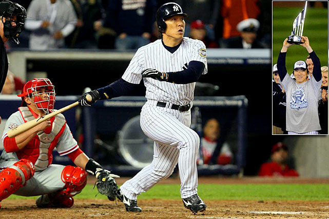 Matsui lived up to his Godzilla nickname during the 2009 World Series, demolishing Philadelphia pitching for two home runs as the Yankees jumped out to a 3-2 series lead.  He was lethal in Game 6, contributing a two-run homer, a bases loaded, two-run single and a two-RBI double in a 7-3 victory.  His six RBIs tied a World Series single-game record and capped a stellar series in which Matsui batted .615.  He became the first Japanese player to be named World Series MVP.