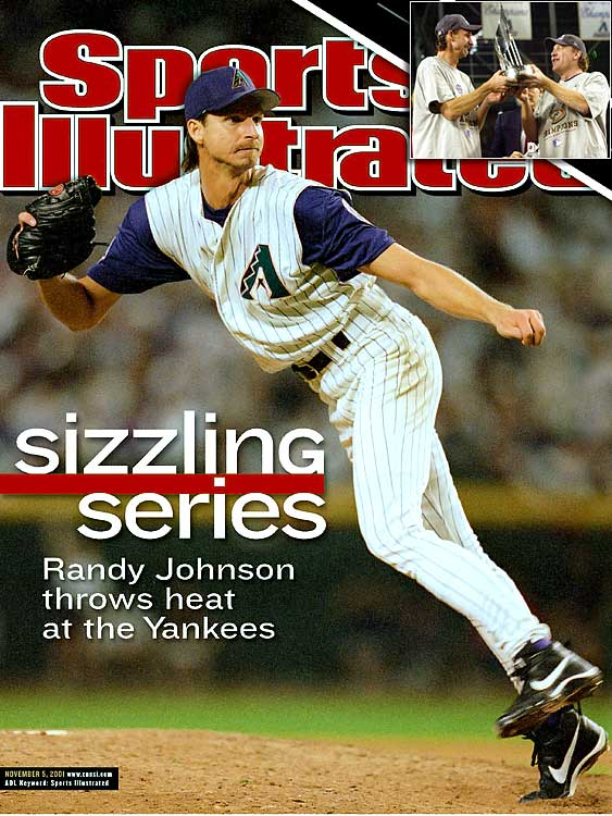 Though Luis Gonzalez, who delivered the walk-off, Series-winning single in Game 7, is remembered best, it was Randy Johnson who may have played the most important role in Arizona's triumph over the Yankees.  The 6-foot-10 lefty racked up 18 strikeouts in 16 innings while wining Games 2 and 6.  His most unusual outing was in Game 7, however, when Johnson was called upon to pitch an inning and a third in relief.  He earned the win and was later named Co-MVP alongside fellow starter Curt Schilling.