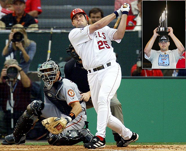 Troy Glaus gave Giants fans nightmares throughout the 2002 World Series, slugging three home runs through the first four games.  His biggest hit, though, was a double in Game 6 that scored the tying and go-ahead runs in the eighth inning and completed Anaheim's comeback from a 5-0 deficit. After the Angels defeated the Giants 4-1 in Game 7, Glaus was presented with the World Series MVP Award.