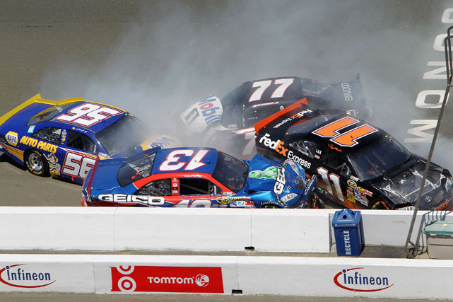 On a double-file restart at the Save Mart 350 at Infineon Raceway, several drivers, including Martin Truex Jr., Denny Hamlin and Max Papis, piled up and crashed against the wall.
