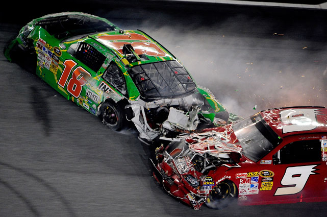 Busch collided with Kahne, sending the No. 9 into the path of several oncoming cars. Kasey was sent spinning down the track before coming to rest near the grass.