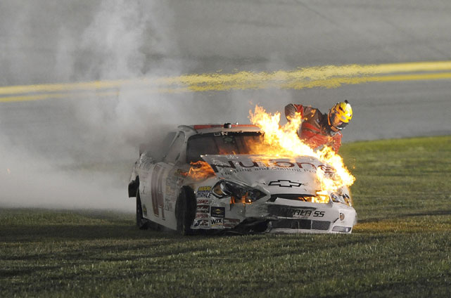 Nationwide driver Kertus Davis was involved in a fiery crash during the Subway Jalapeno 250 at Daytona. After blowing his right rear tire, Davis spun out, careening into several oncoming cars before his caught on fire. Davis  crawled out of the driver's side window and walked away.