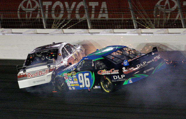 Mike Skinner and Ken Schrader wrecked in Turn 1 during the Bank of America 500 at Lowe's Motor Speedway. Both drivers drove off after the crash.