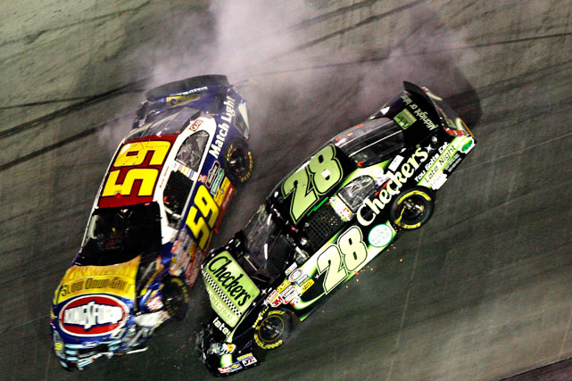 Marcos Ambrose tangled with No. 28 driver Robert Richardson Jr. during the Food City 250 at Bristol in 2007. Ambrose's car got loose, careening into Richardson. Both drivers emerged from the accident unharmed.