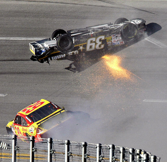 The Chase's seventh stop, Talladega, is known as a hotbed of hard-racing and big, series-altering crashes. With Jimmie Johnson, Denny Hamlin and the rest of the field headed to 'Dega, SI.com takes a look at some of racing's most spectacular crashes.   The 2009 Chase for the Championship stop at Talladega saw a terrifying crash involving a number of drivers, including Ryan Newman. With just five laps to go in the Amp Energy 500, Newman was turned around in mid-pack, sent airborne, launched onto the hood of Kevin Harvick's No. 29 and flipped over. Miraculously, Newman climbed out of his car and walked away virtually unscathed.
