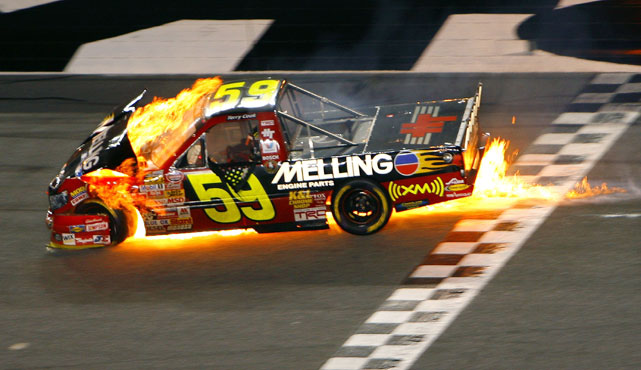 Craftsman Truck Series driver Terry Cook found himself on the receiving end of some poor bump drafting during a 2007 race at Daytona. Cook was sent into the wall and his truck caught on fire before coming to rest near the grass. Surprisingly, the rest of the field managed to avoid the wreck.