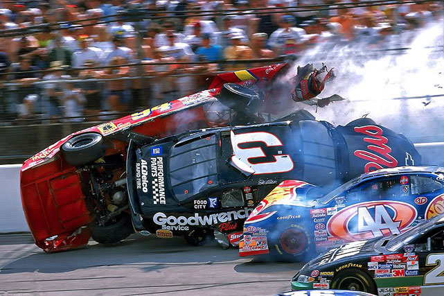 A massive crash marred the 1998 DieHard 500 at Talladega. Starting with slight contact between Ward Burton and Dale Earnhardt, the crash swallowed up much of the field, most notable Bill Elliott, whose car was flipped and slid down the track on its roof. Luckily, there were no serious injuries.