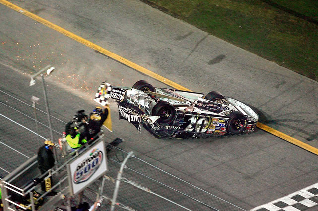 Clint Bowyer secured a spot in the annals of NASCAR history with his very unconventional finish to the 2007 Daytona 500. After getting caught in a wreck toward the end of the race, Bowyer was flipped, yet managed to slide down the final stretch and across the start-finish line.