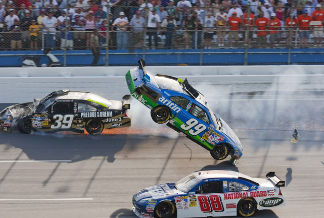 In one of the most notorious crashes in recent history, Carl Edwards' No. 99 was bumped by Brad Keselowski, sending him in to the path of an oncoming Ryan Newman. The impact hurtled the car into the fence at Talladega.