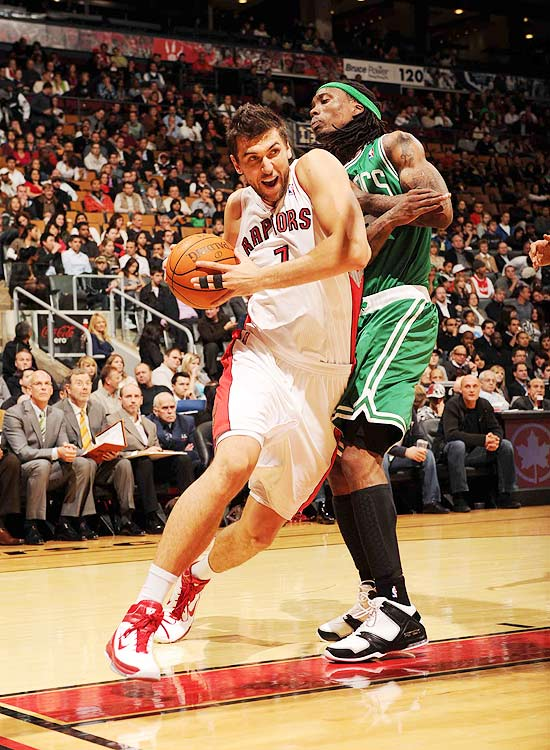 2009-10 Key Stats: 17.2 ppg | 6.2 rpg | 1.4 bpg | 1.5 3PM   Andrea Bargnani gives you a rare combination of skills at the center position. He doesn't rebound much, but he can block shots and hit three-pointers, something even Dirk Nowitzki isn't doing anymore.  With Chris Bosh gone from Toronto, Bargnani will be asked to fill much of the scoring void.  He'll unfortunately also be the object of numerous double teams, which may hurt his percentages.  Even if his efficiency dips, Bargnani is well worth a third or fourth round pick.