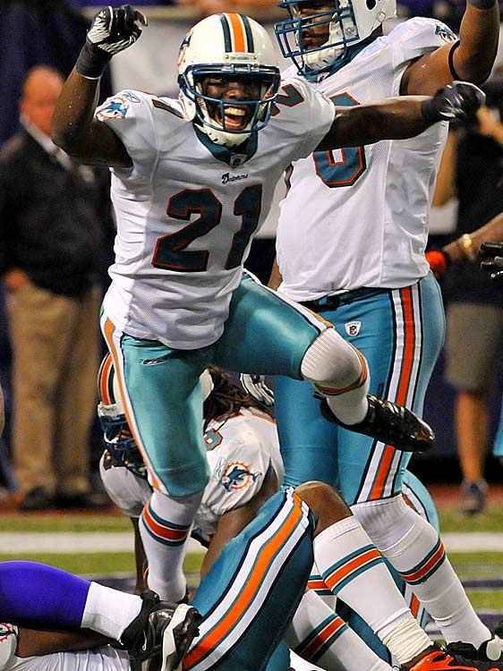 Brett Favre called Vontae Davis one of the best cornerbacks that no one knows about, and Davis is certainly paid like a no-name. Offenses ,  however, are starting to take him into account: Favre threw only two passes in his direction; the Jets' Mark Sanchez only three passes.  Hopefully, for his sake, the Dolphins will start taking notice too