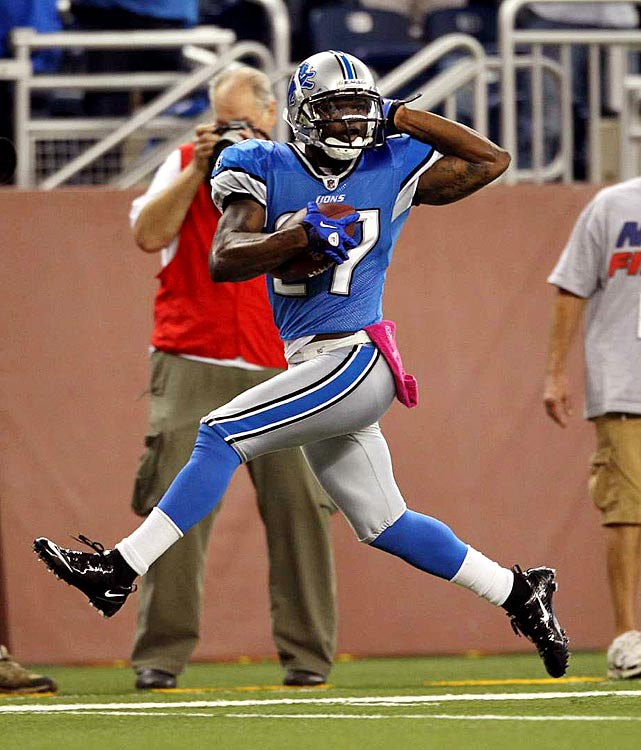 The Lions put a hurting on St. Louis in Week 5, demolishing the Rams in a 44-7 blowout.  The final seven points came on Alphonso Smith's impressive 42 yard pick six, which he corralled from rookie quarterback Sam Bradford to earn his first career touchdown.  The Lions triumph was their first of 2010.