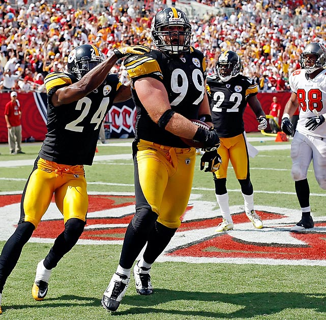 An often overlooked member of the Steelers' vaunted D, Brett Keisel played a key role in Week 3.  After a tipped pass from Josh Freeman fell into his hands, he followed his blockers 79 yards the other way, barreling into the end zone.  The pick six was Pittsburgh's final points in a 38-13 romp over Tampa Bay.