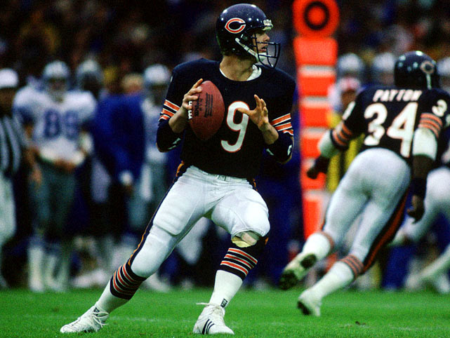 Known for his free-spirit personality as much as his on-field triumphs, Bears' quarterback Jim McMahon sets to pass during the 1987 season.  McMahon played well during his six starts, going 5-1 while tossing 12 touchdowns, but had to sit out for most of the year due to a lingering shoulder injury.  He would remain only one more season in Chicago, as conflicts with head coach Mike Ditka prompted a trade to San Diego in 1989.  Send comments to siwriters@simail.com