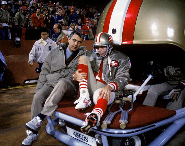 Joe Montana gets carted off the field during a Dec. 14 game against the Chicago Bears.  Montana tortured defenses throughout his 11 games that year, accumulating 31 touchdowns while leading the 49ers to a 10-1 mark.  His injury forced him to miss the NFC Divisional Playoff Game against the Vikings, and a Steve Young-led San Francisco squad was defeated 36-24.