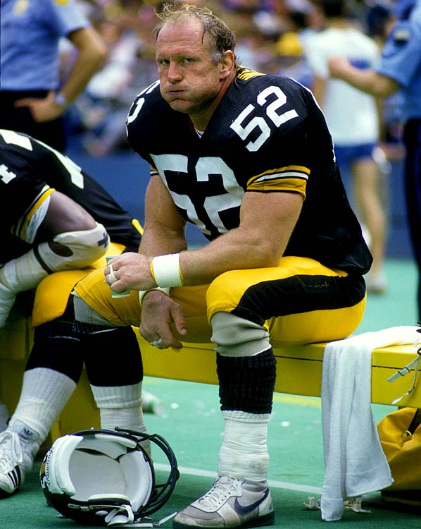 "Regarded by some as the greatest center in NFL history, ""Iron Mike"" Webster takes a seat on the bench during a Nov. 12 game against San Francisco.  The Steelers finished 8-7 record, a game out of playoff contention."