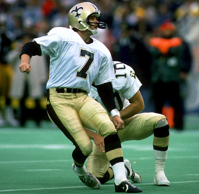 Saints' kicker Morten Andersen watches as his kick sails through the uprights during a Nov. 29 matchup with the Steelers at Three Rivers Stadium.  Then 27, Andersen played for a New Orleans' squad that claimed an NFC Wild Card playoff berth.  Though they'd drop their first round game with Minnesota 44-10, Andersen would play another 20 years, retiring as a member of the Atlanta Falcons at 47.