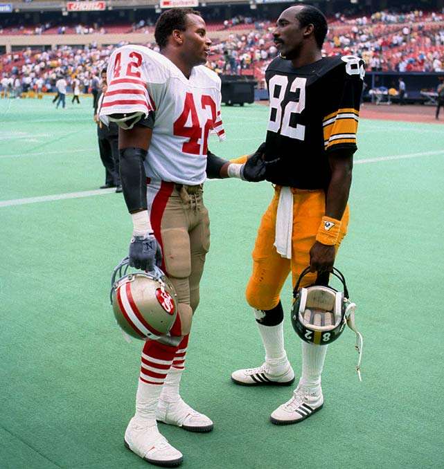 Hall-of-Famers Ronnie Lott and John Stallworth share a moment after their Sept. 13 game in Pittsburgh.  The exchange can be viewed as a passing of the guard:  Stallworth would retire after 1987, while Lott's 49ers would go 13-2 before winning the Super Bowl the following two seasons.