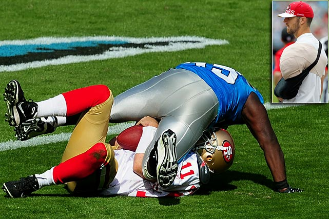 The 49ers have had their share of lows so far in 2010, but added another to the list when Alex Smith went down with a shoulder injury in a 23-20 loss to Carolina in Week 7.  The quarterback was plowed to the ground by defensive end Charles Johnson, and remained on the turf for several minutes following the hit.  He's expected to be out two to three weeks with a separated shoulder.