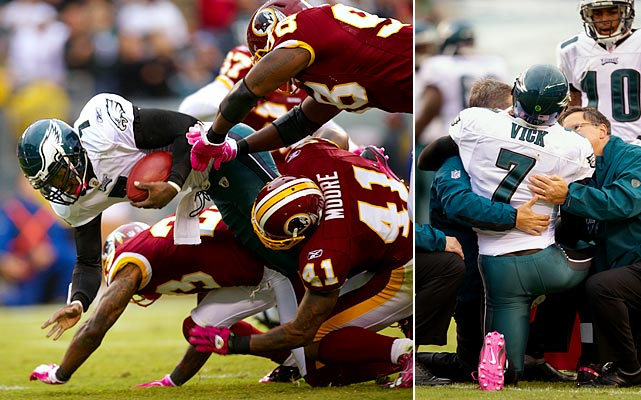 The Eagles starter suffered cartilage damage in his rib cage in Week 4 when he was sandwiched between Kareem Moore and DeAngelo Hall at the end of a 23-yard run to the Redskins 1 that was negated by a holding penalty. He missed three games while healing.