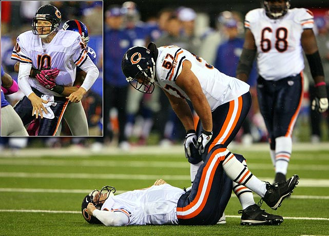 On a night when Jay Cutler was sacked nine times in the first half and left with a concussion, backup quarterback Todd Collins didn't fare much better against the New York Giants. He left the game in the fourth quarter after suffering a stinger on a hit by linebacker Michael Boley.